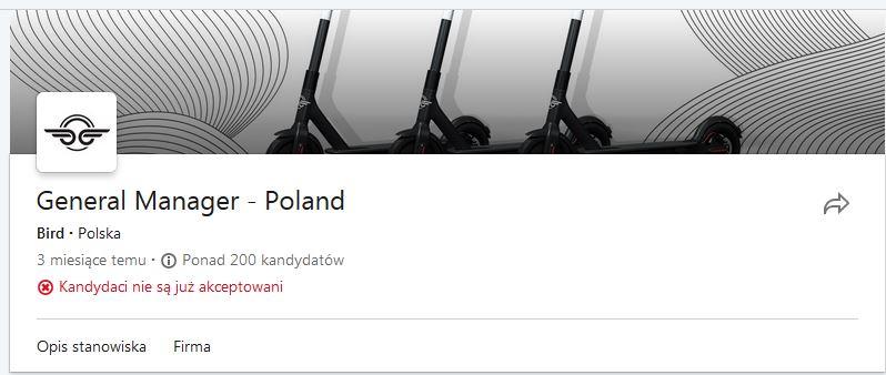 Bird w Polsce - rekrutacja